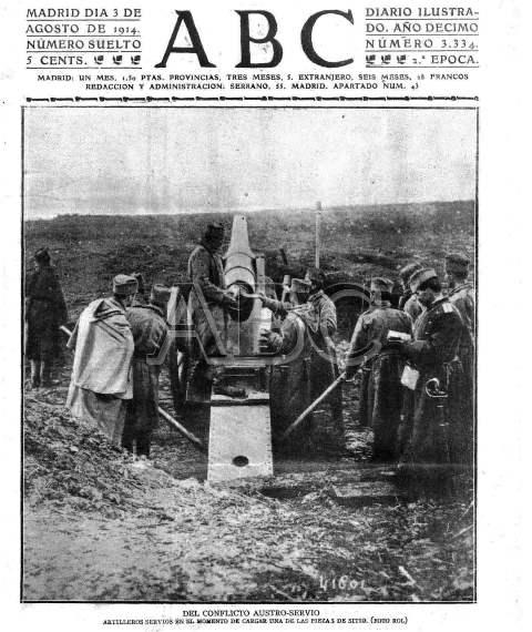 Portada de ABC del 3 de agosto de 2014. Austria y Serbia estaban en guerra. Alemania y Rusia, también. Ese día, Alemania declaró la guerra a Francia.