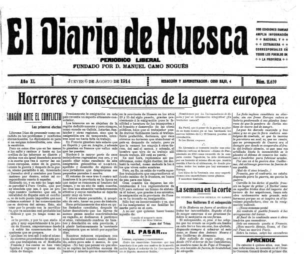 Un curioso artículo de Juan del Triso (Luis López Allué) en el Diario de Huesca sobre las consecuencias de la guerra en la provincia.